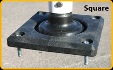 Square, bolt-down base