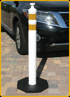 Knob-Top Delineator Post, in white with yellow reflective bands