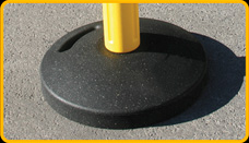 16 lb. recycled rubber base has grab handles